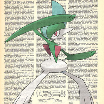 Gallade Pokemon Dictionary Art Print