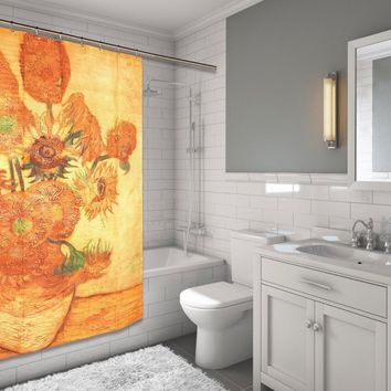 "beautiful Classic SUNFLOWERS Vincent Van Gogh Fabric Shower Curtain 72"" X 70"""