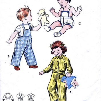 1950's Toddler's Sunsuit Or Overalls / Dungarees And Jacket - Butterick 6176 - Vintage Sewing Patterns - Breast 20""