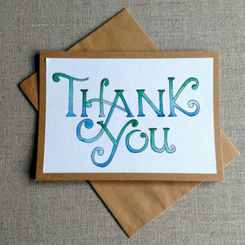 Thank you, watercolor thank you card, blank greeting card, blank hand painted card, kraft greeting card, hand painted thank you card.