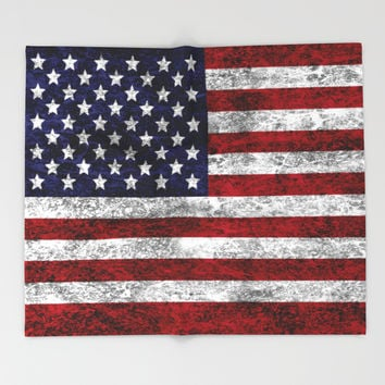 USA Grunge Flag Throw Blanket by Alice Gosling | Society6