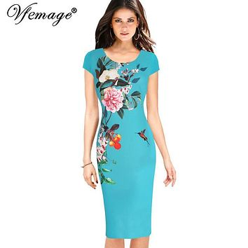 Vfemage Womens Elegant Floral Printed Vintage Cap Sleeve Casual Party Evening Mother of Bride Vestidos Bodycon Pencil Dress 7042