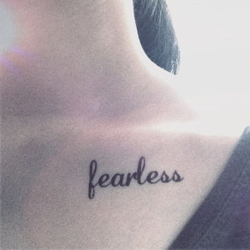 2pcs Fearless script text word tattoo  - InknArt Temporary Tattoo - wedding custom temporary tattoo wrist neck ankle