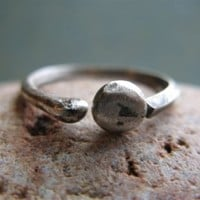fine silver pebble ring by JewlLi on Etsy