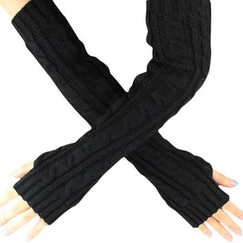 Winter Gloves Women Long Fingerless Knitted Women Gloves Hand Wrist Warmer Gloves Guantes Mujer#B920 SM6