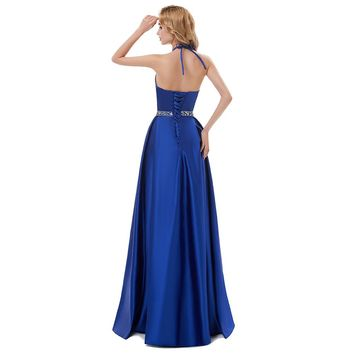 Satin Halter A Line Long Evening Dresses Sleeveless Backless Beading Floor Length Evening Dress