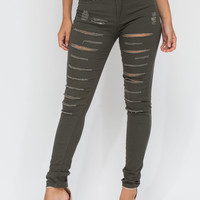 Slitting Pretty Distressed Skinny Jeans GoJane.com