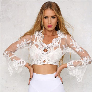 White Mesh and Lace Designed Long Sleeve T-Shirt