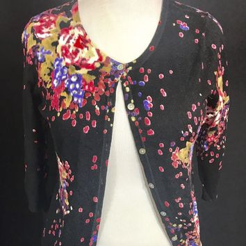 Joseph A. Women's  Cardigan, size M, black Multi Color Abstract Pattern
