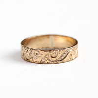 Antique Victorian Band - Size 7.5 Vintage Late 1800s Decorative Chased Wedding Cigar Band - Stacking GF Art Nouveau Jewelry