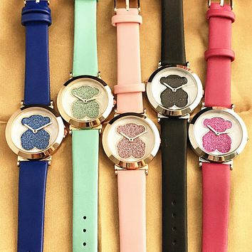 Tous Dazzle Colour Series Fashion Women Cute Bear Movement Watch Wrist Watch I12599-1