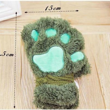 Fluffy Cat Paw/Glove Novelty Soft Half Covered