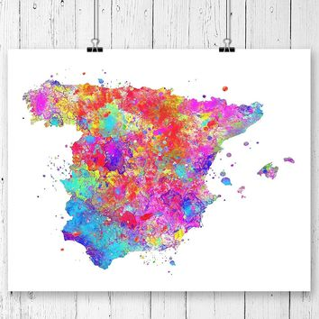 Spain Map Art Print - Unframed