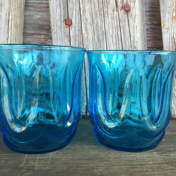 Vintage Whiskey Glasses, Colonial Tulip LAZER BLUE 8 oz old fashioned Anchor Hocking tumblers,  lowball coolers, retro bar cart glasses