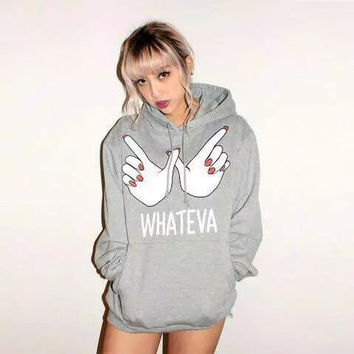 Hand And Letter Print Long-Sleeve Hoodie Pullover Shirt With Pocket