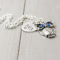 Name Necklace, Sorority Owl Necklace, Sister Gift,Owl Key Necklace, Personalized Owl Jewelry, Kappa Kappa Gamma, Personalized Jewelry