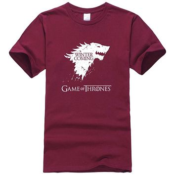 2017 New Fashion The North Remembers Blood Wolf T Shirt Men's Novelty Game of Thrones Tshirt High Quality Hipster Tee Tops