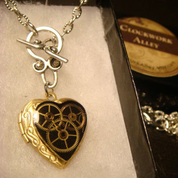 Neo Victorian Vintage Clockwork Steampunk Heart LOCKET Necklace - Great VALENTINES DAY Gift (1555)