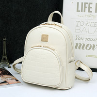 Women  Leather Backpacks Shoulder Bags Crocodile Alligator School Books Travel Daily Casual Punk Laptop Notebook For Teenages