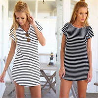 Elegant Short Sleeve Casual Jersey Mini Dress - Stripes