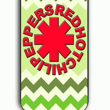 iPhone 5C Case - Hard (PC) Cover with Red Hot Chili Peppers Green Chevron Plastic Case Design