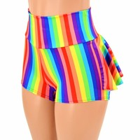 Rainbow Stripe Ruffle Rump Shorts