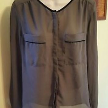 Rhyme & Echo gray Black colorblock Blouse Size S small Anthropologie top shirt