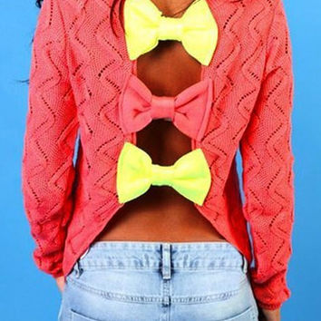 Color Block Back Cut Out Bowknot Sweater