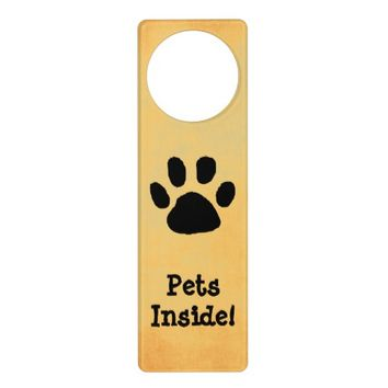 Pet Warning Door Sign Door Knob Hanger