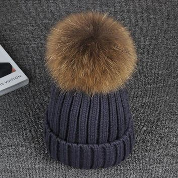 CREYCI7 15cm Real Raccoon Fur Pom poms Knitted Ball Beanies Winter Hat For Women Girl 's Cotton Skullies 2016 Brand New Thick Female Cap