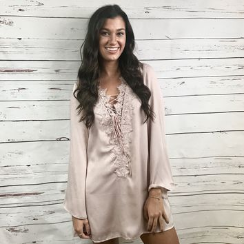 Late Night Lust Silky Lace-Up Dress