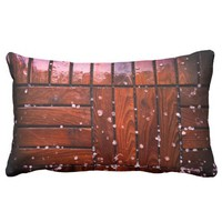 Cool Brown Wooden Ply texture With Wintry Snow Ice Lumbar Pillow