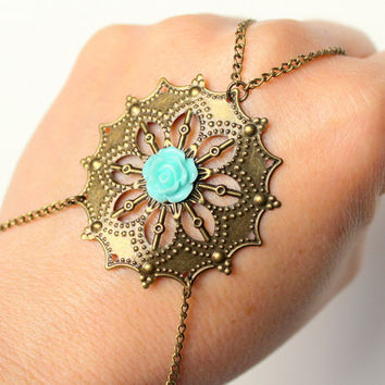 Filigree Mint Rose Bracelet -  Hand Piece - Slave Bracelet - Hand Piece Bracelet - Body Jewelry -  Ring bracelet by Tiny Box
