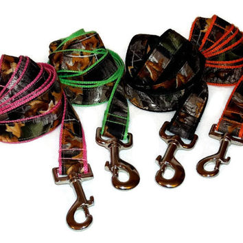 Realistic Camouflage Leash in black, orange, pink or green.