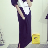Mickey Mouse Shape Graphic Print Lower Side Slit Loose Maxi Shirt Dress