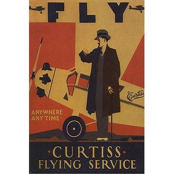 VINTAGE ad poster FLY CURTISS flying service USA 1920 art nouveau 24X36 HOT