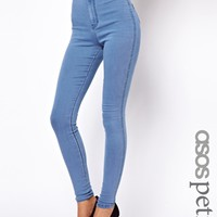 ASOS PETITE Rivington High Waist Denim Jeggings In Light Wash - Light