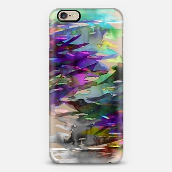 FERVOR 1 - Colorful Bold Abstract Watercolor Painting Black Grey Plum Purple Green Aqua Brushstrokes Floral Waves Whimsical Modern Transparent Fine Art Rainbow Multicolor Nature Chic  iPhone 6 case by Ebi Emporium   Casetify