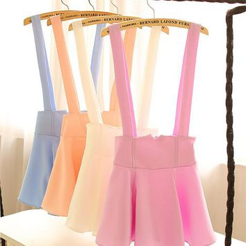 PURE COLOR SKIRTS BRACES SKIRT