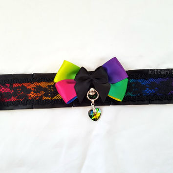 Black and Rainbow Lace Braid Ombre Pleated Kitten/Pet Play DDLG BDSM Collar