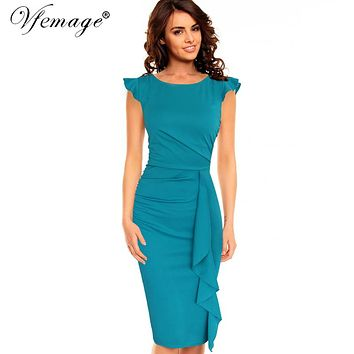 Women's Elegant Frill Ruffles Ruched Draped Vintage Retro Tunic Slim Casual Bodycon Pencil Dress