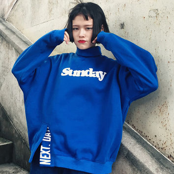 Sunday Next Day Autumn Womens Harajuku Sweatshirt Blue Yellow Kawaii Female Letter Hoody High Collar Tracksuit Sweatshirt