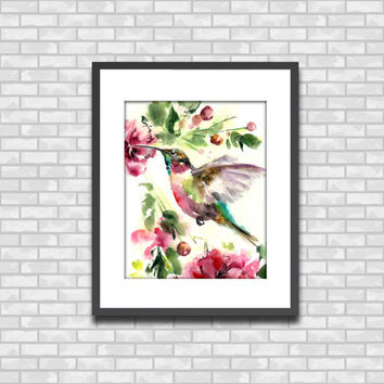 Hummingbird Watercolor Painting Art Print, Bird Art Watercolour Wall Art