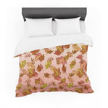 "Ebi Emporium ""AUTUMN OMBRE, PINK GREEN"" Pink,Green,Nature,Pattern,Watercolor,Mixed Media Featherweight Duvet Cover"