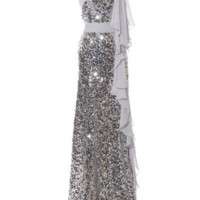KC131543 Silver Sequin One Shoulder Evening Dress by Kari Chang Couture