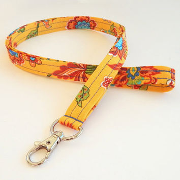 Floral Lanyard / Flower Keychain / Yellow Floral Print / Key Lanyard / ID Badge Holder / Flowers / Pretty Lanyard / Teacher Lanyard