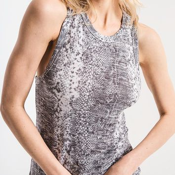 Z Supply - The Heather Grey Snakeskin Print Muscle Tank Top