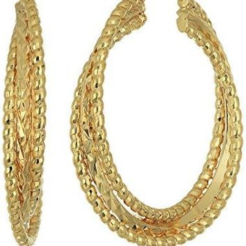 Napier Gold-Tone Textured Layered Hoop Earrings