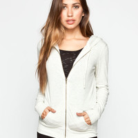 Full Tilt Essential Womens Cozy Zip Front Hoodie Oatmeal  In Sizes