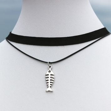 N907 Pendant Chokers Necklaces Women 90's Girls Black Velvet Double Layer Fish Bone Collares Fashion Jewelry Gothic Bijoux Colar